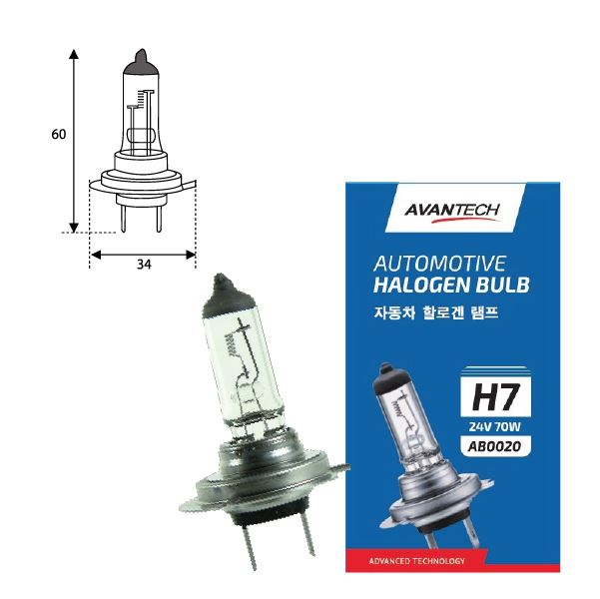 Лампа головного света Avantech H7 24V 70W