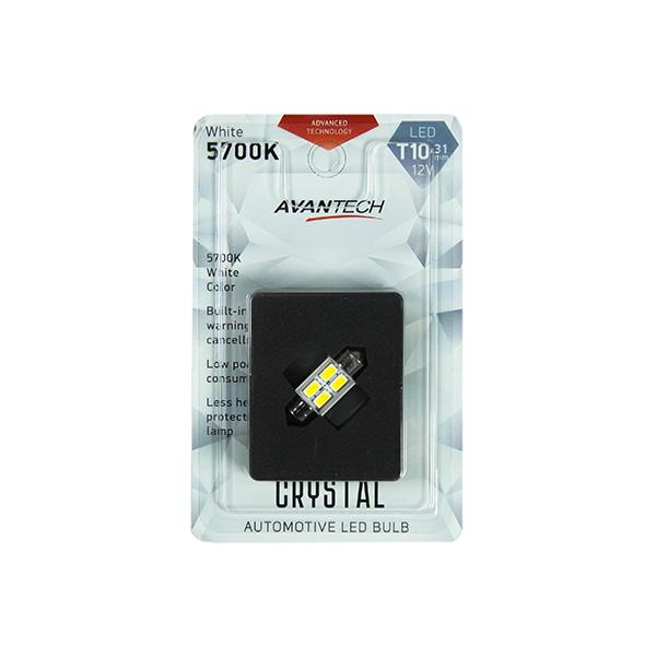 Лампа светодиодная Avantech 12V LED T10x31 5700K (резистор), 1 шт.