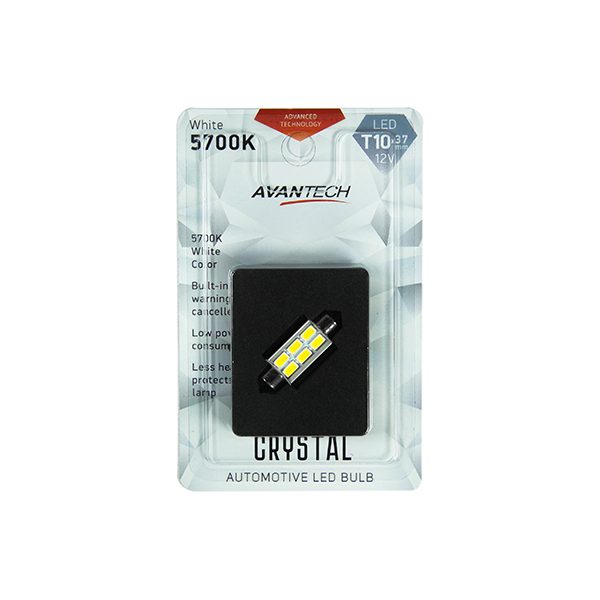 Лампа светодиодная Avantech 12V LED T10x37 5700K (резистор), 1 шт.