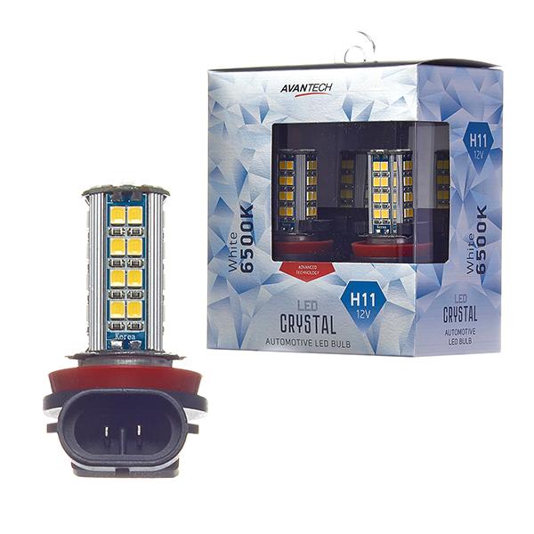 Лампа светодиодная Avantech H11 LED 12V 4,7W 6500K, комплект 2 шт.
